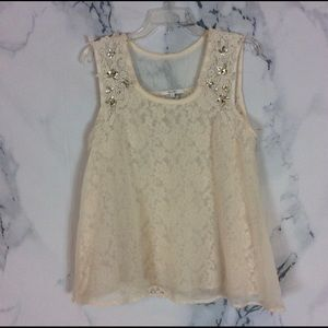 Miss Me ivory/lace/jeweled Bling